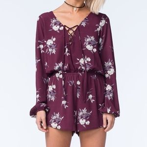 Mimi Chica Long sleeve floral wine romper